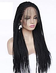 levne -Twist prýmky / Syntetické čipky předních paruky / Paruky ke kostýmům Box Braids Styl Cop Se síťovanou přední částí Paruka Černá Černá Umělé vlasy 24 inch Dámské s dětskými vlasy / Nastaviteln