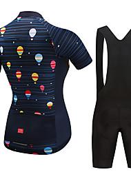 Недорогие -Fastcute Жен. С короткими рукавами Велокофты и велошорты-комбинезоны Белый Черный Воздушные шары Велоспорт Наборы одежды Дышащий Влагоотводящие Быстровысыхающий Виды спорта Воздушные шары