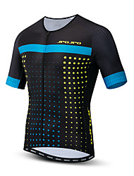 hesapli -JPOJPO Erkek Kısa Kollu Bisiklet Forması Siyah / Mavi Bisiklet Tracksuit Forma Üstler Nefes Alabilir Spor Dalları Polyester Elastane Terylene Dağ Bisikletçiliği Yol Bisikletçiliği Giyim / Mikro-Esnek
