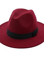Недорогие -Муж. Жен. Классический В стиле 1930-х Панама Федора Шляпа от солнца Хлопок Шерсть,Однотонный Лето Осень Черный Пурпурный Верблюжий