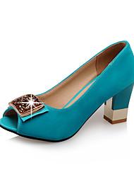 Недорогие -Жен. Обувь на каблуках Туфли на шпильках На толстом каблуке Открытый мыс Стразы Полиуретан Лето Черный / Пурпурный / Светло-синий
