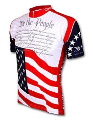 Недорогие -21Grams Американский / США Флаги Муж. С короткими рукавами Велокофты - Красный + синий Велоспорт Джерси Верхняя часть Дышащий Влагоотводящие Быстровысыхающий Виды спорта Терилен / Слабоэластичная
