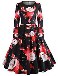 cheap -Women's Basic Chinoiserie A Line Swing Dress - Color Block Print Black L XL XXL