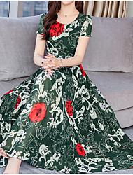 Недорогие -Жен. Богемный Элегантный стиль Шифон Платье - Цветочный принт, С принтом До колена