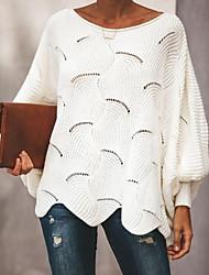 Недорогие -Жен. Однотонный Длинный рукав Вспышка рукава Пуловер, Глубокий круглый вырез Весна / Осень Черный / Белый / Розовый S / M / L