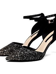 Недорогие -Жен. Обувь на каблуках На шпильке Квадратный носок Овчина На каждый день Весна Лиловый / Золотой