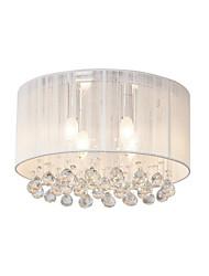 Недорогие -потолочный светильник в форме барабана верхний k9 хрустальный подвесной светильник круглый потолочный светильник тканевый подвесной светильник для спальни люстры с 4 лампами скрытого монтажа