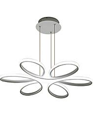 Недорогие -Светодиодная люстра с регулируемой высотой окружающее подвесное освещение круг потолочные светильники затемняемые подвесные светильники с дистанционным управлением белого цвета для столовой