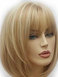 Недорогие -Парики из искусственных волос Естественный прямой Стиль Стрижка каскад Без шапочки-основы Парик Золотистый Светло-золотой Искусственные волосы 28~32 дюймовый Жен. Новое поступление Золотистый Парик