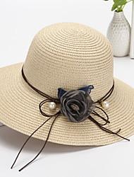 Недорогие -Жен. Классический Соломенная шляпа Солома,Однотонный Бежевый Темно синий Хаки