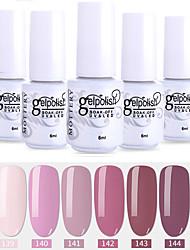 economico -smalto per unghie 6 pz colore 139-144 xyp soak-off uv / led smalto gel per unghie colore solido lacca per unghie set