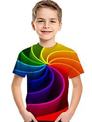 Недорогие -Дети Дети (1-4 лет) Мальчики Активный Классический Геометрический принт С принтом Контрастных цветов С принтом С короткими рукавами Футболка Цвет радуги