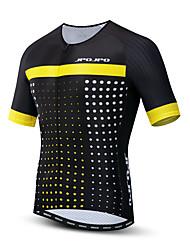 hesapli -JPOJPO Erkek Kısa Kollu Bisiklet Forması Siyah / Sarı Bisiklet Tracksuit Forma Üstler Nefes Alabilir Spor Dalları Polyester Elastane Terylene Dağ Bisikletçiliği Yol Bisikletçiliği Giyim / Mikro-Esnek