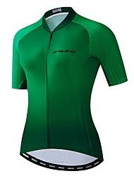 hesapli -JPOJPO Kadın's Kısa Kollu Bisiklet Forması Yeşil Bisiklet Tracksuit Forma Üstler Nefes Alabilir Spor Dalları Polyester Elastane Terylene Dağ Bisikletçiliği Yol Bisikletçiliği Giyim / Mikro-Esnek