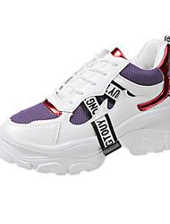 Недорогие -Жен. Спортивная обувь Туфли на танкетке Синтетика Весна & осень Черно-белый / Черный / Красный / Белый и фиолетовый