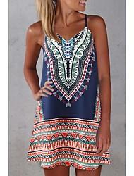 cheap -Women's Basic Swing Dress - Geometric Print Blue Orange Yellow M L XL