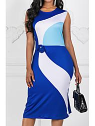 Недорогие -Жен. Большие размеры Для офиса Тонкие Оболочка Платье - Контрастных цветов До колена