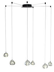 Недорогие -Современная люстра 6 ламп подвесной светильник подвесной потолочный светильник хрустальные светильники G4 LED включены для столовой гостиной офис кафе комната