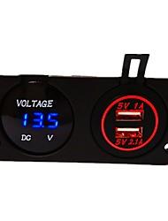 Недорогие -dc12v 3.1a водонепроницаемый автомобильное зарядное устройство с двумя отверстиями панели с двумя светодиодными USB-портами светодиодный цифровой дисплей вольтметр грузовик автомобиль мотоцикл розетка