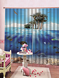 Недорогие -Горячие продажи оптовая продажа домашнего декора 3d морской печати водонепроницаемый Mouldproof затемнения занавес для гостиной / гостиной звукоизоляция шторы