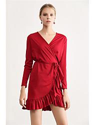 Недорогие -Жен. Классический А-силуэт Оболочка Платье - Однотонный, Оборки Ассиметричное