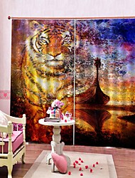Недорогие -3d пвх цифровая печать тигр роскошные оконные шторы на складе много шторы затемнения 100% полиэстер ткань офис / гостиная / гостиница