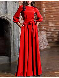 Недорогие -Жен. Классический Оболочка Платье - Однотонный, Бант Шнуровка Макси