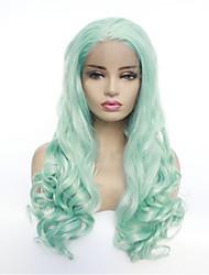 levne -Syntetické čipky předních paruky Přírodní vlny Styl Volná část Se síťovanou přední částí Paruka Zelená Mátová Umělé vlasy 8-26 inch Dámské syntetický Zelená Paruka Poloviční délka 130% Lidské vlasy