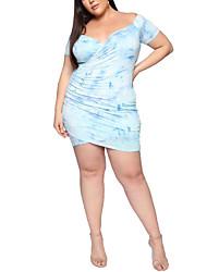 cheap -Women's Basic Bodycon Dress - Tie Dye Print Blue XXL XXXL XXXXL