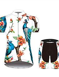 Недорогие -21Grams Цветочные ботанический Павлин Жен. С короткими рукавами Велокофты и велошорты - Черный / Белый Велоспорт Наборы одежды Дышащий Влагоотводящие Быстровысыхающий Виды спорта 100% полиэстер