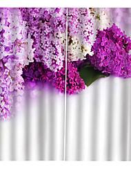 Недорогие -Прекрасные фиолетовые сиреневые печатные декоративные оконные шторы затемнения 100% полиэстер для гостиной / спальни