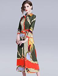 Недорогие -Жен. Изысканный Элегантный стиль Оболочка С летящей юбкой Платье - Полоски Геометрический принт, Шнуровка С принтом Средней длины