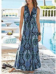 Недорогие -Жен. Богемный С летящей юбкой Платье Цветочный Леопардовый принт Глубокий V-образный вырез Макси