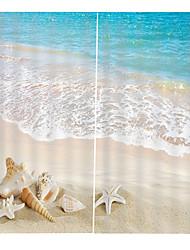 Недорогие -песчаный пляж прозрачный занавес окна в бутике с плотным покрытием для штор с крючком / кольцами
