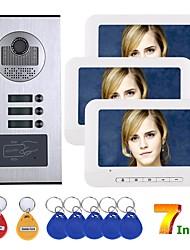 Недорогие -7-дюймовый 3-квартирный / семейный видеодомофон домофон RFID IR-Cut HD 1000TVL камера дверной звонок камера с 3 кнопками 3 монитора
