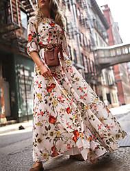 cheap -Women's Street chic Elegant Swing Dress - Floral Geometric Print Rainbow M L XL