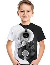 Недорогие -Дети Дети (1-4 лет) Мальчики Активный Классический Геометрический принт С принтом Контрастных цветов С принтом С короткими рукавами Футболка Белый