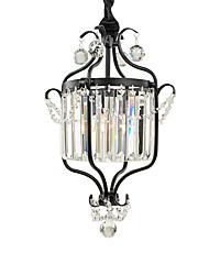 Недорогие -старинная металлическая / хрустальная люстра антикварная железная художественная круглая люстра с подвесной хрустальной призмой потолочный светильник подвесной регулируемая по высоте черная