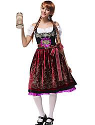Недорогие -Октоберфест Широкая юбка в сборку Trachtenkleider Жен. Блузка Платье Пояс баварский Костюм Темно-красный