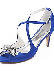Недорогие -Жен. Свадебная обувь Платья На шпильке Открытый мыс Стразы Сатин Лето Темно-лиловый: / Тёмно-синий / Вино / Свадьба / Для вечеринки / ужина