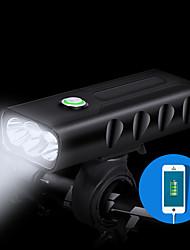 Недорогие -Двойной LED Велосипедные фары Передняя фара для велосипеда Внешний аккумулятор Фонарь LED Горные велосипеды Велоспорт Водонепроницаемый 3 в 1 Несколько режимов 1500 lm USB 18650 Перезаряжаемый Белый