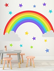 Недорогие -радужная звезда настенные палочки детский сад спальня гостиная детская комната самоклеящиеся бумажные обои декоративные наклейки на стену - плоские наклейки на стену натюрморт детская комната /