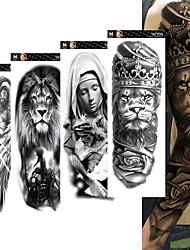 Недорогие -4 шт. / Лот полный рука временные татуировки наклейки для мужчин, женщин черный череп смерти супер большой большой водонепроницаемый поддельные татуировки рукава