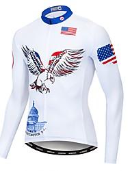 Недорогие -WEIMOSTAR Американский / США Eagle Флаги Муж. Длинный рукав Велокофты - Синий / белый Велоспорт Джерси Верхняя часть Устойчивость к УФ Дышащий Влагоотводящие Виды спорта Полиэстер Эластан Терилен