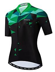 hesapli -JPOJPO Kadın's Kısa Kollu Bisiklet Forması Yeşil Yenilik Bisiklet Forma Üstler Nefes Alabilir Hızlı Kuruma Spor Dalları Polyester Elastane Terylene Dağ Bisikletçiliği Yol Bisikletçiliği Giyim / Likra