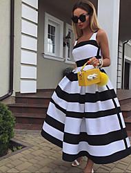Недорогие -Жен. Классический А-силуэт Платье - Контрастных цветов Квадратный вырез Средней длины