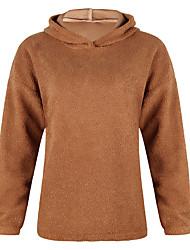 Недорогие -Жен. Однотонный Длинный рукав Пуловер, Капюшон Весна / Осень Черный / Лиловый / Хаки S / M / L