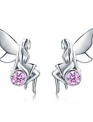 Недорогие -Новые модные 100% стерлингового серебра 925 фея цветок розовый cz серьги-гвоздики для женщин ювелирные изделия из стерлингового серебра подарок sce395