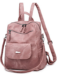 Недорогие -Большая вместимость PU Молнии рюкзак Сплошной цвет Повседневные Черный / Небесно-голубой / Розовый / Наступила зима