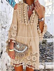 Недорогие -Жен. Прямое Платье - Однотонный, С кисточками V-образный вырез Выше колена
